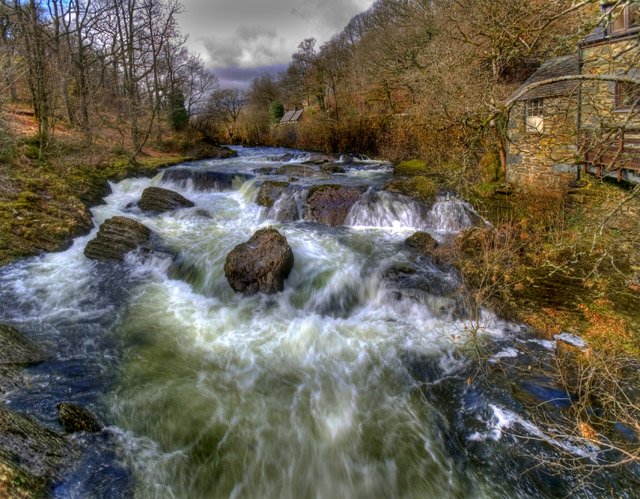 Afon Llugwy from the footbridge opposite Cobden's Hotel