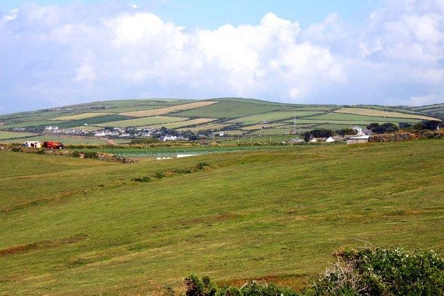Looking across fields towards Bossiney