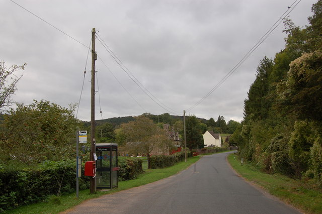 Rural bus stop at Flaxley, Gloucestershire