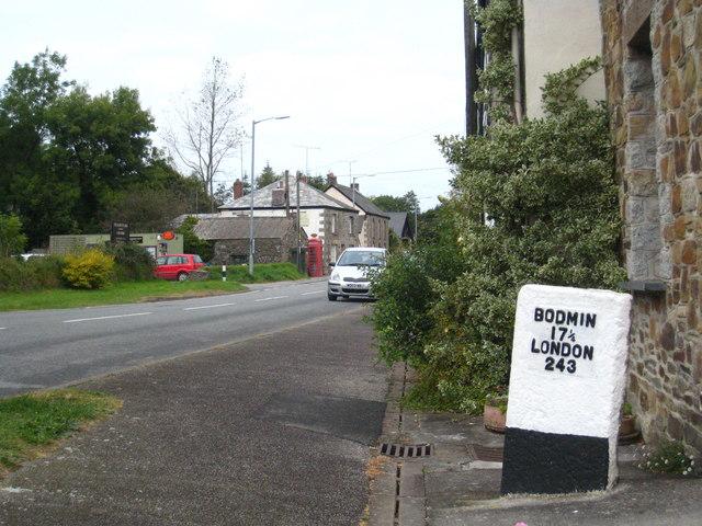 Milestone in Ladock village