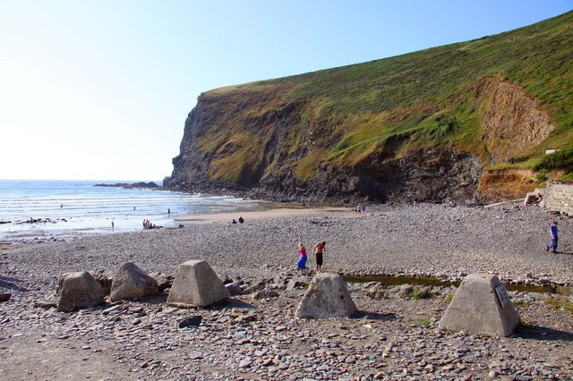 Concrete cones on Crackington Haven beach