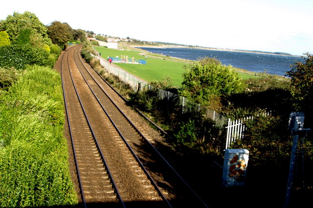 View eastwards of the Dundee - Arbroath railway