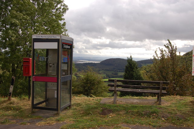 Phone box and seat at Plump Hill, Gloucestershire