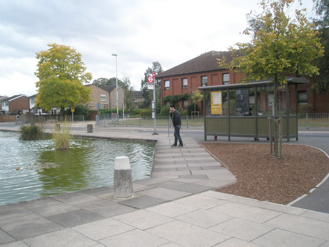Bus stop by the ornamental pond at Brunel University
