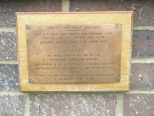 Commemorative plaque beneath an historic girder at Brunel University