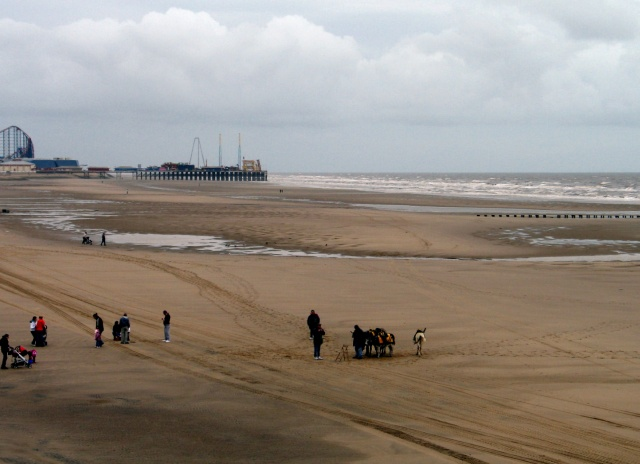 Blackpool Beach, with Donkys