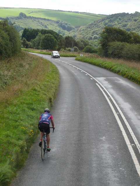 A cyclist on the A361 south of Ilfracombe