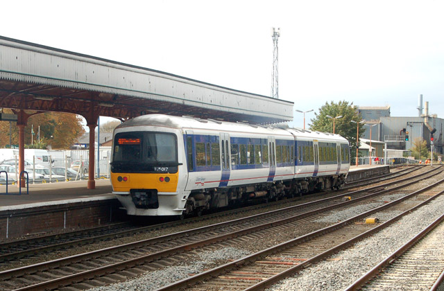 Birmingham train leaving Leamington Spa railway station
