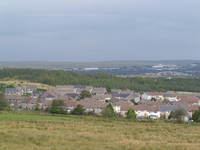 Looking towards Rassau Industrial Estate in distance
