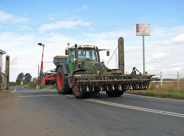 Tractor passing level crossing at Shippea Hill