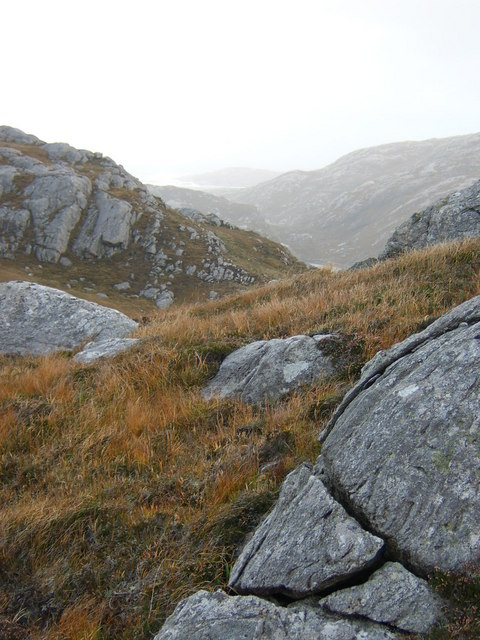 Rough and undulating moorland on Aird Bheag