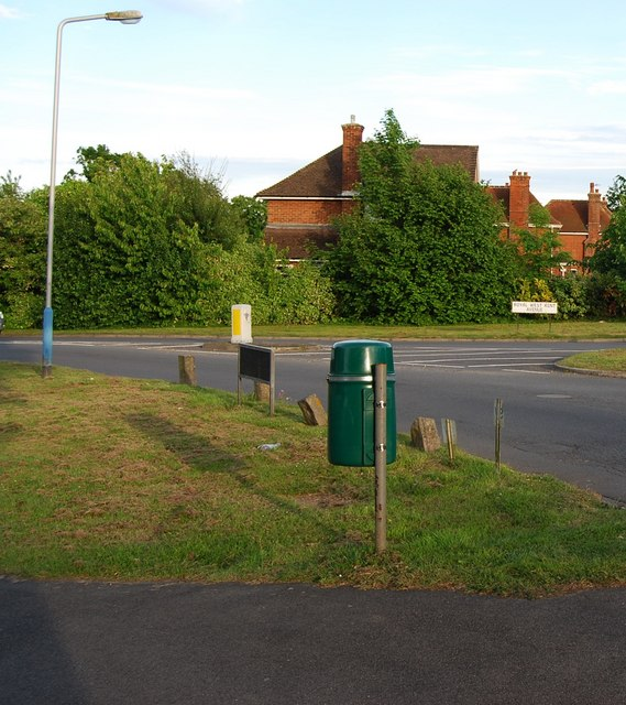 Litter bin by the roundabout at the junction of Royal West Kent Avenue & The Ridgeway, Cage Green, Tonbridge