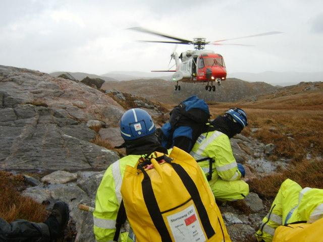 Coastguard rescue 100 landing on Mullach na h-Airde Bige