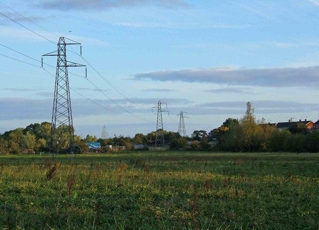 Pylons in a meadow near Northwick, Worcester