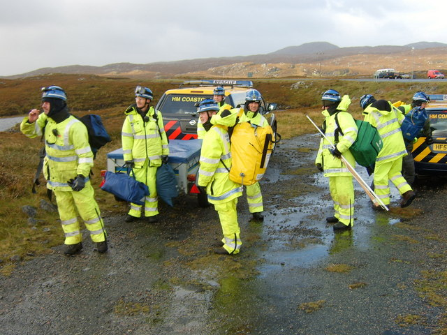 Stornoway Cliff Rescue Team waiting to be lifted by helicopter from the old road