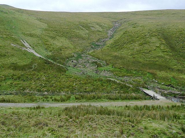Hillside with bridge by Nant-y-Gorlan, Powys