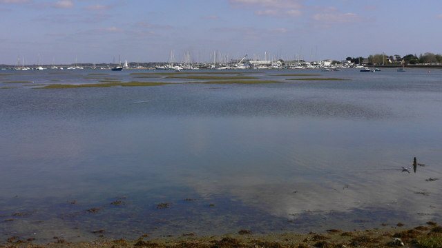 View across water to marina at Hayling Island Sailing Club