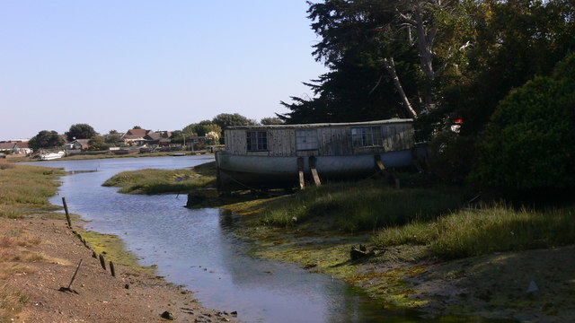 Looking down Fishery Creek to the back of houses