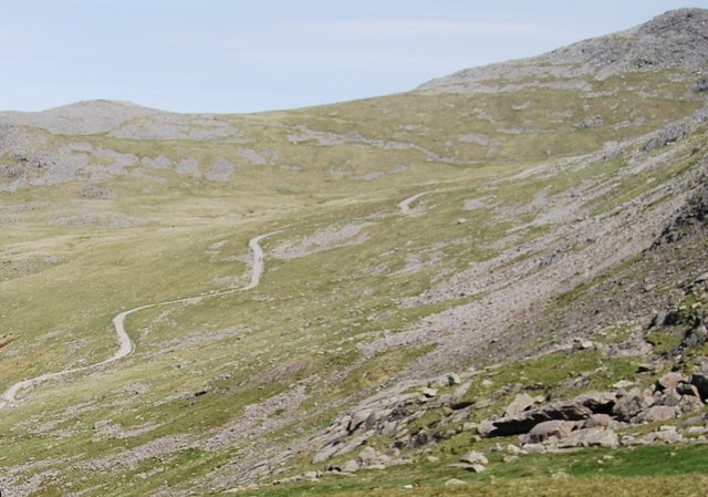 Footpath snaking up Scafell Pike