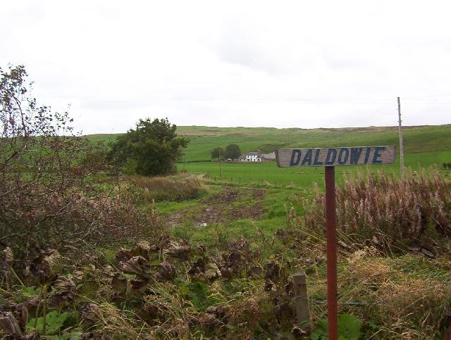 Daldowie Farm and hill