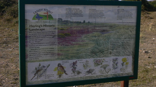 Information board at Sandy Point Nature Reserve