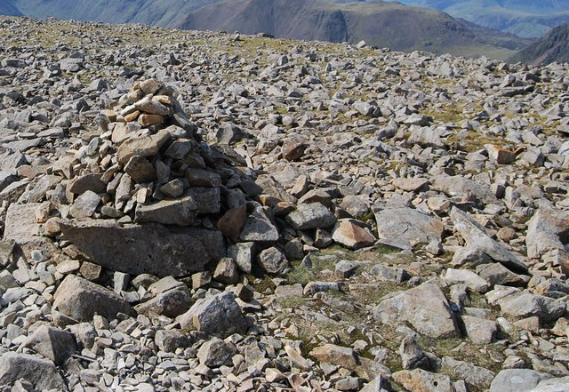 Cairn amongst a boulderfield on Scafell Pike