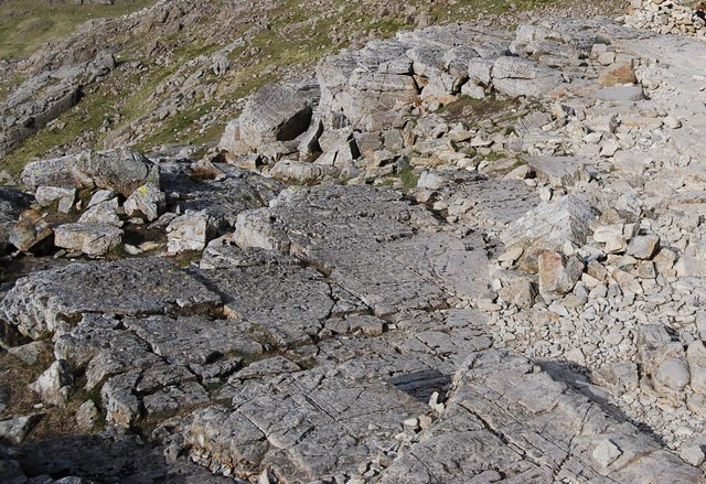 Ice abraded rock slab on Scafell Pike