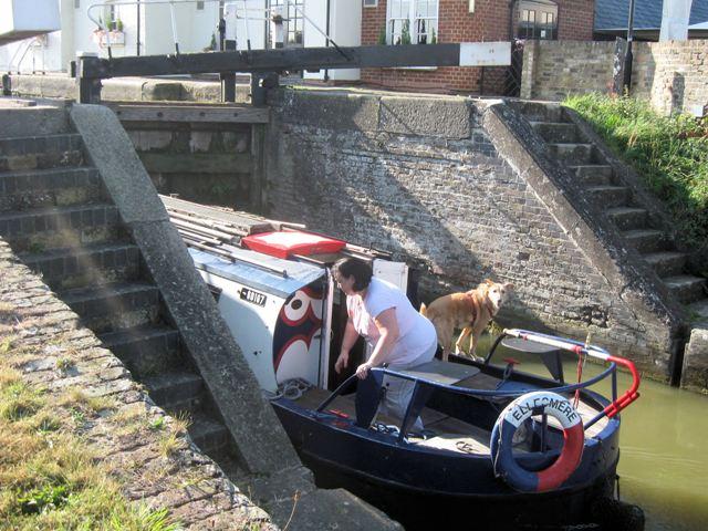 Passing Lock No 28 –  Narrowboat Ellesmere (2) – Passing through the bottom gates