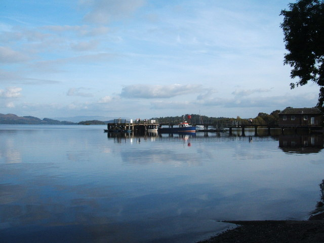 Luss Pier and fishing boat