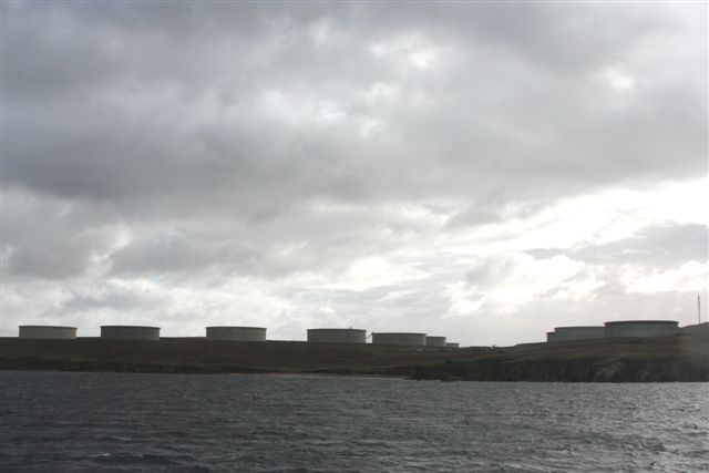 Tank farm at north west of Sullom Voe oil terminal