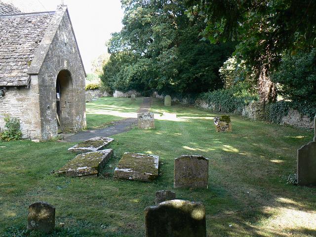 Churchyard and porch, St Matthew's church, Coates