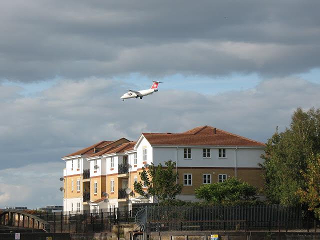 Swissair aircraft approaching London City Airport