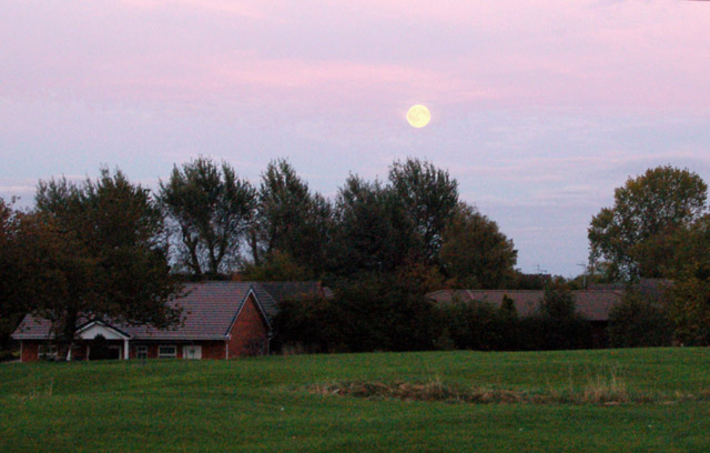 Moonrise over Broadwell village green