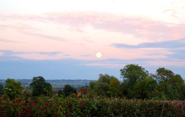 Moonrise over Home Farm, Broadwell