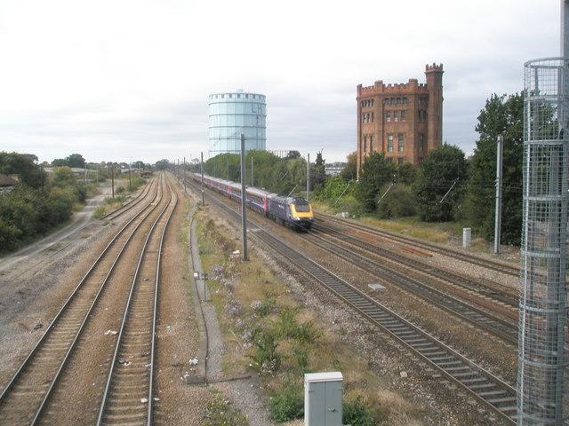 High speed train thundering through Southall