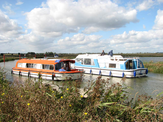 Two boats passing - on the River Chet