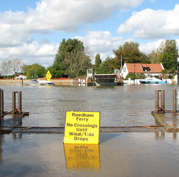 High water in the River Yare at Reedham Ferry