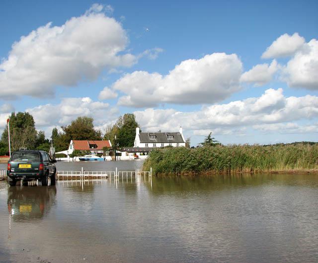 Reedham Ferry - flooded car park