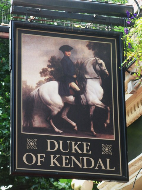 Sign for The Duke of Kendal, Connaught Street / Kendal Street, W2