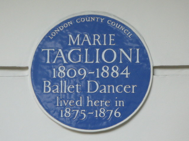 Blue plaque re Marie Taglioni, Connaught Square, W2