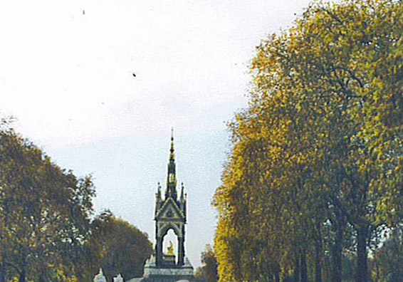 Albert Memorial at the end of a tree lined swath