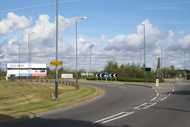 Tournament Fields roundabout, A429 Stratford Road, Warwick