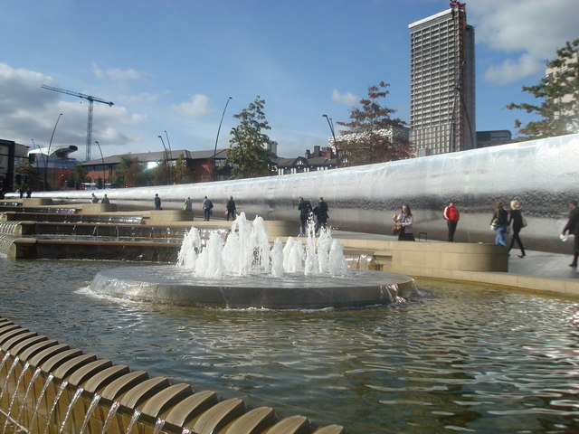 Fountain outside Sheffield Station