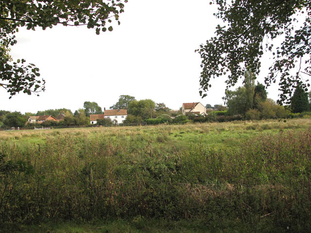 Cottages on the edge of Limpenhoe Marshes