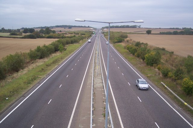 The A299 towards Whitstable