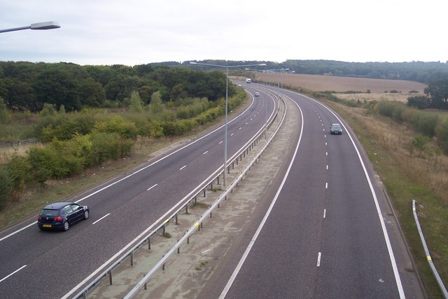 The A299 towards Chestfield and Herne Bay