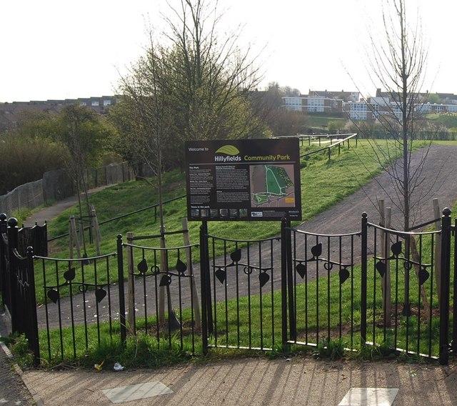 Entrance to Hillyfields Community Park, Parr Avenue