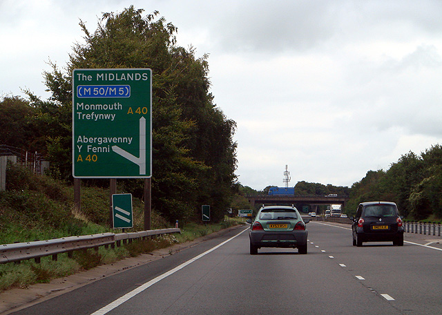 Approaching the Abergavenny exit on the A449