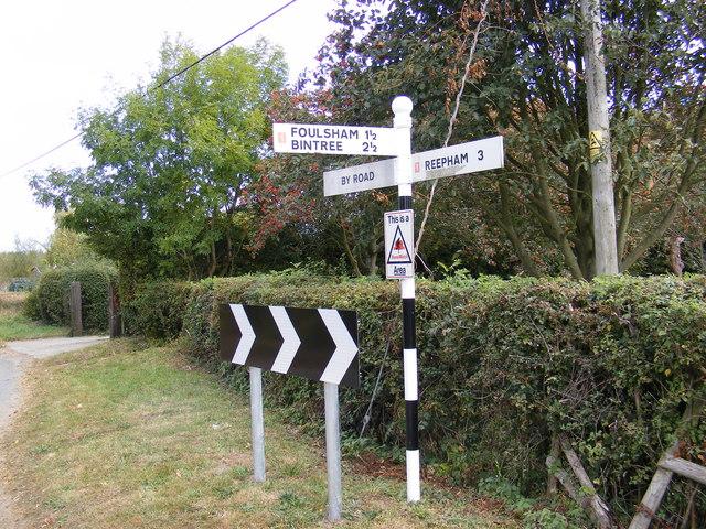Roadsign on Reepham Road