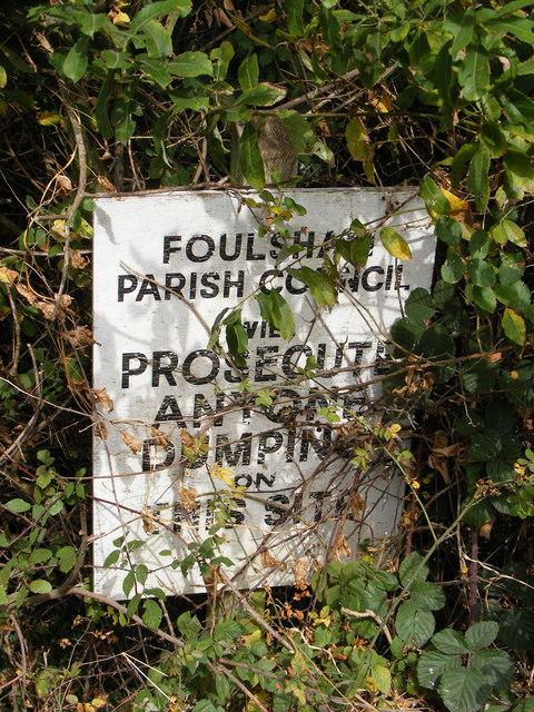Warning sign on Reepham Road
